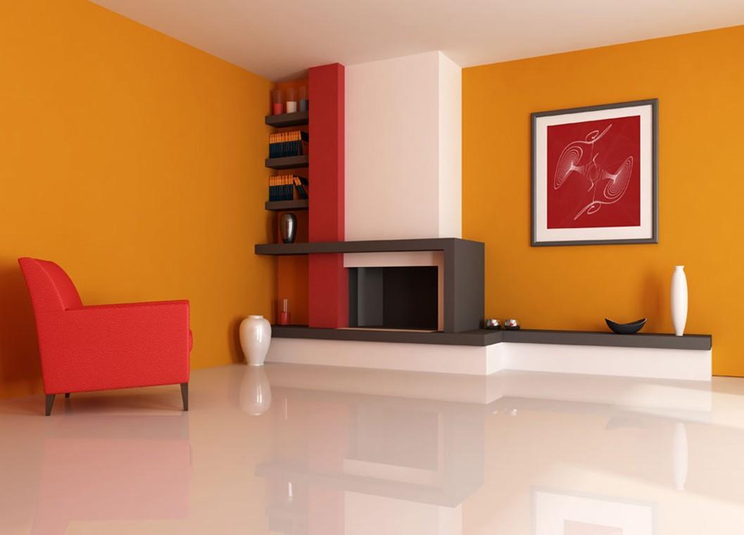دکوراسیون داخلی با رنگ نارنجی